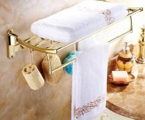 Dourado-termina-toalha-de-banho-prateleira-de-parede-do-banheiro-da-dupla-camadas-dobrável-e-gancho