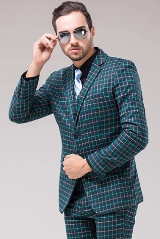 HOT-High-quality-Jackets-pants-vest-2014-New-Men-suits-Dark-green-grid-men-s-suits