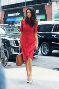 NEW YORK - SEPTEMBER 30: Amal Clooney seen out in Manhattan on September 30, 2015 in New York, New York. (Photo by Josiah Kamau/BuzzFoto via Getty Images)