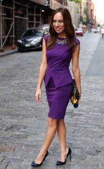 Sydne-Style-peplum-trend-purple-dress-Ted-Baker-street-style-Stella-Dot-Kahlo-bib-necklace-fashion-week-