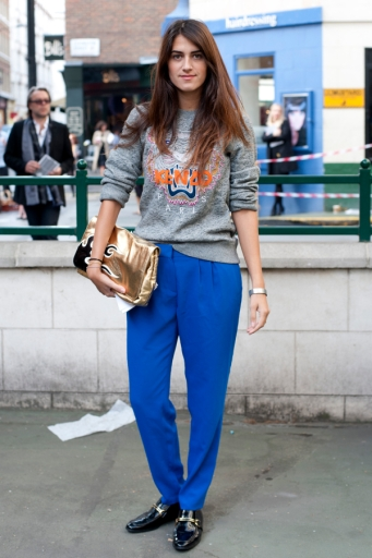 LONDON, ENGLAND - SEPTEMBER 17: Student Melanie (22) poses wearing a Kenzo jumper, Marge trousers and Stella Mccartney shoes at the Antonio Berardi Fashion Show during London Fashion Week S/S 2013 on September 17, 2012 in London, England. (Photo by Ben Pruchnie/FilmMagic)